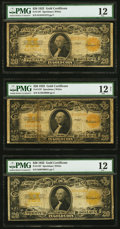 Large Size:Gold Certificates, Three Fr. 1187 $20 1922 Gold Certificates PMG Graded Fine 12; Fine 12; Fine 12 Net.. ... (Total: 3 notes)