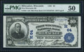 National Bank Notes:Wisconsin, Milwaukee, WI - $10 1902 Plain Back Fr. 635 First Wisconsin NB Ch. # (M)64 PMG About Uncirculated 50.. ...