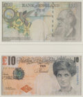 Prints & Multiples, Banksy X Banksy of England. Di-Faced Tenner, 10 GBP Note (two works), 2005. Offset lithographs in colors on paper. 3 x 5...
