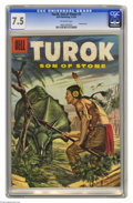 Silver Age (1956-1969):Adventure, Turok #3 (Dell, 1956) CGC VF- 7.5 Off-white pages. Painted cover. Overstreet 2004 VF 8.0 value = $160. CGC census 2/05: 2 in...