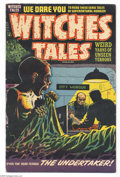 Golden Age (1938-1955):Horror, Witches Tales #24 (Harvey, 1954) Condition: FN-. Lee Elias cover.Howard Nostrand, Bob Powell, Sid Check, and Joe Certa art....