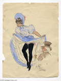 Original Comic Art:Sketches, A. Huertas (attributed) - Can Can Girl Illustration Original Art(undated). This delicate pen, ink and watercolor details th...