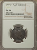 1797 1/2 C Plain Edge, 1 Above 1 Good 6 NGC. Mintage 127,840....(PCGS# 1042)