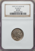 1937-D 5C Three-Legged, FS-901, XF45 NGC. The NGC holder uses the obsolete Cherrypickers' designation, FS-020.2. NGC Ce...