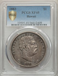 Coins of Hawaii , 1883 $1 Hawaii Dollar XF45 PCGS Secure. PCGS Population: (231/328and 0/5+). NGC Census: (81/248 and 0/3+). CDN: $625 Whsle...