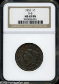 """1826 1C MS65 Brown NGC N-5. The current Coin Dealer Newsletter (Greysheet) wholesale """"bid"""" price is $1660.00..."""