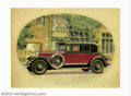 Original Illustration Art:Mainstream Illustration, American Illustrator - Original Advertising Art (c.1930).. Lincolncar ad.. Watercolor and pen-and-ink on paper (attached to...