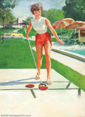 Original Illustration Art:Pin-up and Glamour Art, Gillette Elvgren (1914-1980) Original Pin-up Preliminary (c.1970)..Fully finished preliminary painting of a NAPA calendar f... (Total:2 items Item)