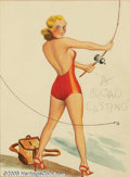 Original Illustration Art:Pin-up and Glamour Art, Cardwell S. Higgins (1902-1983) Original Pin-up / Glamour Art(1920-1930).. Titled: A Broad Casting.. Graphite andwater...