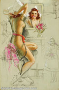 "Original Illustration Art:Pin-up and Glamour Art, K. O. Munson - Original Pin-up Art (c.1950).. Appeared as ""October""in the 1950 calendar for Munson's Artist's Sketch Pad... (Total:3 items Item)"