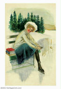 Original Illustration Art:Mainstream Illustration, Charles Gates Sheldon (1889-1960) Original Illustration(1915-1925). This Charles Sheldon image of a schoolgirl ice skaterp...