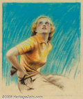 Original Illustration Art:Mainstream Illustration, Charles Gates Sheldon (1889-1960) Original Advertising Art(c.1937).. Fully finished preliminary drawing for a BreckShampoo...