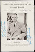 Boxing Collectibles:Autographs, 1948 Walcott & Braddock Dual-Signed Menu....