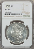 Morgan Dollars: , 1878-S $1 MS66 NGC. NGC Census: (492/31). PCGS Population: (865/35). CDN: $600 Whsle. Bid for problem-free NGC/PCGS MS66. M...