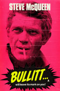 """Movie Posters:Crime, Bullitt (Warner Brothers, 1968). Folded, Fine+. Silk Screen Day-Glo British Double Crown (20"""" X 30"""").. ..."""
