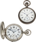 Timepieces:Pocket (post 1900), Hampden Walter & Hafner's Katy Special Two Tone & Wimmer Indianapolis With Giles Antimagnetic Shield Case. ... (Total: 2 Items)