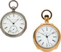 Timepieces:Pocket (pre 1900) , Elgin Rare Nickel 14 Size Key Wind & Gold 16 Size Doctor's Watch. ... (Total: 2 Items)