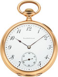 Timepieces:Pocket (post 1900), Ball & Co. Rare 14k Gold Prototype 16 Size Hamilton From The Ball Store, Completely Unsigned, No Serial Number. ...