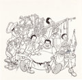 Animation Art:Production Drawing, Fat Albert and the Cosby Kids Publicity Illustration, Cel,and Print Group (Filmation, 1972).... (Total: 3 Items)