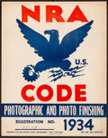 """Movie Posters:Miscellaneous, National Recovery Administration (U.S. Government Printing Office, 1934) Fine/Very Fine. Administration Sign (11"""" X 14""""). Mi..."""