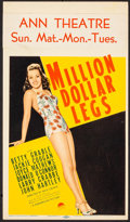 "Movie Posters:Comedy, Million Dollar Legs (Paramount, 1939) Very Fine-. Midget WindowCard (8"" X 14""). Comedy.. ..."