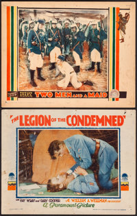 """The Legion of the Condemned & Other Lot (Paramount, 1928) Fine. Lobby Cards (2) (11"""" X 14""""). War.... (Tota..."""