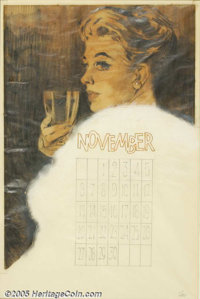 Fritz Willis (unknown-1979) Original Pin-up / Glamour Art (c.1966). A November calendar for the Brown & Bigelow Cale...