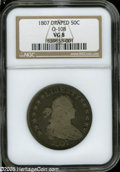 """Early Half Dollars: , 1807 50C Draped Bust VG8 NGC O-108. The current Coin Dealer Newsletter (Greysheet) wholesale """"bid"""" price is $120.00...."""