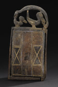 African: , Yoruba? (Nigeria). Mirror frame. Wood, iron, traces of blue andwhite pigment, fiber. Height: 18 1/8 inches Width: 9 ¼ inch...