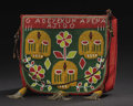 African: , Yoruba (Nigeria). Diviner's Beaded bag, Apo Ifa. Beads,leather, cloth. Height: 11 5/8 inches Width: 13 7/8 inches. S...