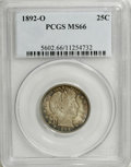 Barber Quarters: , 1892-O 25C MS66 PCGS. Type Two Reverse. This is an extraordinaryexample that is pushing the envelope for finest known hono...