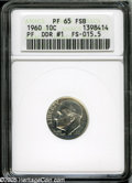 Proof Roosevelt Dimes: , 1960 10C Doubled Die Reverse PR65 Full Bands ANACS....
