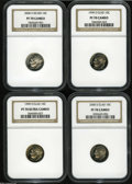 Proof Roosevelt Dimes: , 1999-S 10C Clad PR70 Cameo NGC; 1999-S Clad PR70 Deep Cameo NGC,...(4 Coins)