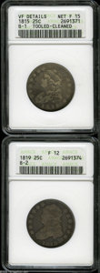Bust Quarters: , 1815 25C--Tooled, Cleaned--ANACS, VF Details, Net Fine 15,... (2 Coins)