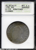 Early Half Dollars: , 1795 50C 2 Leaves--Scratched, Cleaned--ANACS. VG Details, Net Good4....