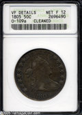 Early Half Dollars: , 1805 50C--Cleaned--ANACS. VF Details, Net Fine 12....