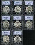 Eisenhower Dollars: , 1972-S S$1 Silver MS67 PCGS,... (8 Coins)