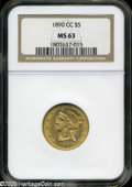 Liberty Half Eagles: , 1890-CC $5 MS63 NGC....