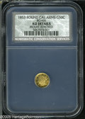California Fractional Gold: , 1853 50C Liberty Round 50 Cents, BG-415, Low R.5, AU Details, Mount Removed, NCS....
