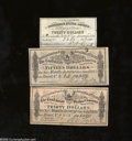Confederate Notes:Group Lots, Three Different Confederate Bond Coupons.... (3 notes)