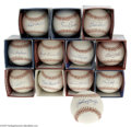 Autographs:Baseballs, Hall of Famers Single Signed Baseballs Lot of 12....