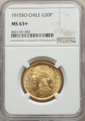 Chile, Chile: Republic gold 20 Pesos 1915-So MS63+ NGC,...
