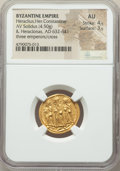 Ancients:Byzantine, Ancients: Heraclius (AD 610-641), with Heraclius Constantine andHeraclonas. AV solidus (20mm, 4.50 gm, 7h). NGC AU 4/5 - 3/5....
