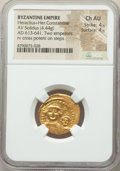 Ancients:Byzantine, Ancients: Heraclius (AD 610-641), with Heraclius Constantine. AVsolidus (20mm, 4.44 gm, 7h). NGC Choice AU 4/5 - 4/5....