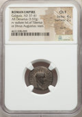 Ancients:Roman Imperial, Ancients: Gaius 'Caligula' (AD 37-41), with Divus Augustus (died AD14). AR denarius (18mm, 3.57 gm, 9h). NGC Choice Fine 4/5 - 2/5,scu...