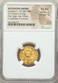Ancients:Byzantine, Ancients: Justinian II, first reign (AD 685-695). AV solidus (19mm,4.47 gm, 6h). NGC Choice AU 2/5 - 3/5....