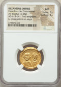 Ancients:Byzantine, Ancients: Heraclius (AD 610-641), with Heraclius Constantine. AVsolidus (21mm, 4.48 gm, 6h). NGC AU 5/5 - 4/5....