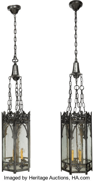 A Pair Of Three Light American Gothic Revival Metal And