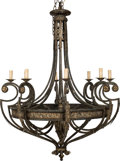 Decorative Arts, Continental:Lamps & Lighting, An Eight-Light Painted Iron Chandelier, 20th century. 60 x 44-1/2 x44-1/2 inches (152.4 x 113.0 x 113.0 cm). PROPERTY FRO...