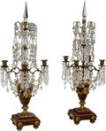 Decorative Arts, French:Other, A Pair of French Marble, Gilt Bronze, and Crystal Four-LightGirandoles, late 19th century. 37 x 13-1/2 x 13-1/2 inches (94....(Total: 2 Items)